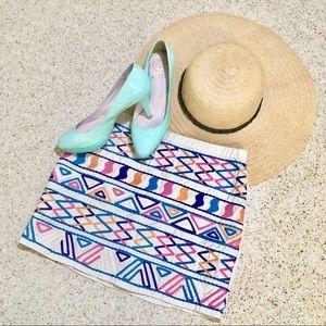 Boho embroidered geometric cream linen mini skirt!